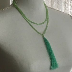 Mint Green and White Beaded Long Tassel Necklace
